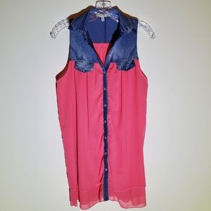 Coral tunic/dress with denim top
